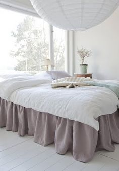 Love the color of the bed skirt.