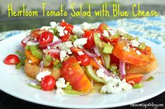 Heirloom Tomato Salad, The Sweet Spot Blog http://thesweetspotblog.com/heirloom-tomato-salad-with-blue-cheese/