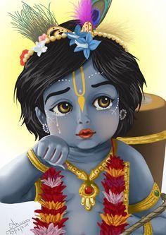 Baby Krishna looks out. Krishna has a loving relationship with each and every living entity. Krishna Janmashtami, Baby Krishna