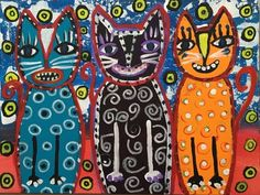 Outsider Art PAINTING Original Colorful Cats Primitive #OutsiderArt