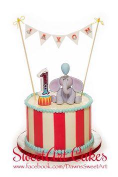 Circus theme smash cake, 1st birthday cake