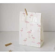 10 x Paper bags / White Flamingo Pattern Favor by Twomysterybox