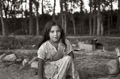 """Blueberry Girl: August 1937. Indian girl, daughter of blueberry picker, near Little Fork, Minnesota. 35mm nitrate negative by Russell Lee for the FSA. """"she is an Ojibwe girl also commonly known as Chippewa"""""""