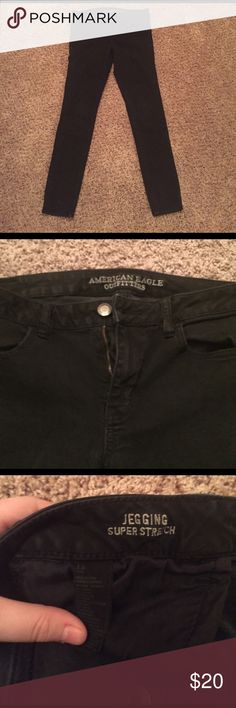 American Eagle Black Jeggings (Super Stretch) American Eagle Black Jeggings. Moderately worn, very slight fading. No damage. American Eagle Outfitters Jeans Skinny