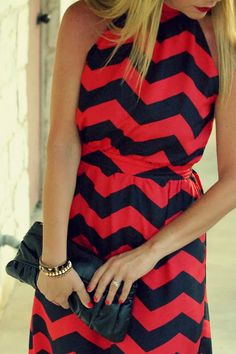 Chevron print maxi dress TheOriginalPrep // love the high neckline
