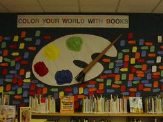 "Summer Bulletin Board display, from ""Color Your World With Books""."