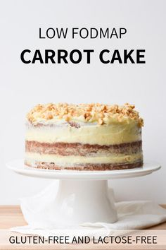 A delicious moist carrot cake with a fresh cream cheese frosting. Nobody will taste that this cake is low FODMAP, gluten-free and lactose-free! Fodmap Dessert Recipe, Fodmap Recipes, Gluten Free Baking, Gluten Free Recipes, Cake Recipes, Dessert Recipes, Patisserie Sans Gluten, Dairy Free Cream, Lactose Free Diet
