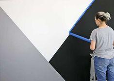 How To: Stencil a Geometric Nursery Wall - Stencil Stories Painting Tile Floors, Painted Floors, Wooden Wall Art, Diy Wall Art, Diy Canvas Frame, Geometric Wall Paint, Light Up Canvas, Yellow Nursery, Stenciled Floor