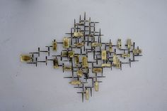 Brutalist Abstract Cut nail Wall Sculpture with Bronze and Brass