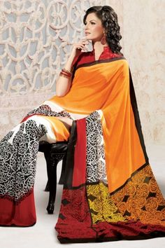 Traditional Printed Party Saree; Orange Peel and Off-white Faux Georgette Printed Casual and Party Saree $21