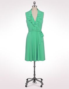 Misses | Dresses | Ruffle Belted Surplice Dress | dressbarn  Another pretty green :-)