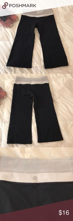 Lululemon Leggings Crop Yoga Leggings. Slight flare. Great condition. General wear (waistband mostly) but no major pilling. Bought these from a fellow posher but just a little small for me. They are a size 6. Your usual high quality Lululemon Leggings. lululemon athletica Pants Leggings