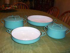 Lot of 4 Vintage Dansk Kobenstyle Turquoise Enamel Ware Pots Pans Casseroles | eBay