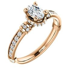 Diamond Engagement Rings : 0.50 Ct Oval Ring 14k Rose Gold