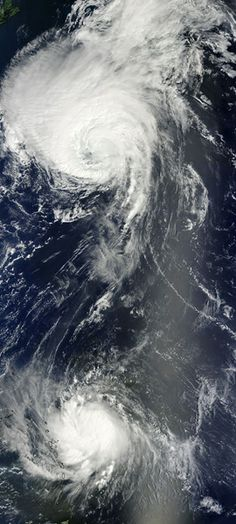 Two simultaneous Atlantic hurricanes Two huge hurricanes surged across the Atlantic at the same time, as seen in this view from summer 2010.