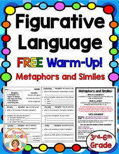 This FREE figurative language product includes two weeks of quick warm-up activities for similes and metaphors. These no prep, easy to use printables are perfect for a warm-up, early finisher, or homework assignment. 4th Grade Ela, 5th Grade Reading, Third Grade, Grade 3, Reading Skills, Teaching Reading, Reading Lessons, Learning, Speech And Language