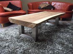 Boomstam salontafel 130cm incl RVS U poot