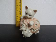 Adorable Lenox Halloween Kitten Cat in Pumpkin with Mouse Figurine from 2000