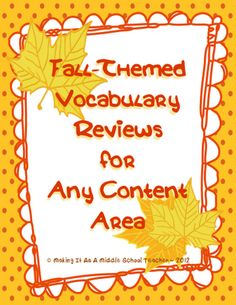 Fall-Themed Freebie!  Vocab Activity for any content and most grades!