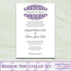 Gold Wedding Invitation Suite Templates Damask Party Invite Set - Wedding invitation templates: silver wedding invitations templates