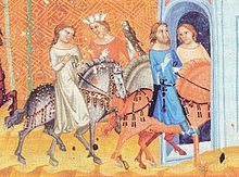 Oldřich, Duke of Bohemia and his wife Bozena enter Prauge. Illustration from the Chronicle of Dalimil, 14th century
