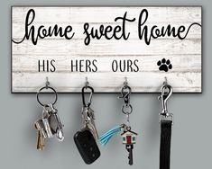 Home Sweet Home Personalized Key Ring Holder Housewarming Gift Quote Key Holder His Hers Ours Dog Paw Family Name Key Rack Newlywed Gift - Cell Phone Ring Stand - Ideas of Cell Phone Ring Stand - Home Sweet Home Personalized Key Ring Holder Housewarming Sweet Home, Wooden Pattern, Lets Stay Home, Key Rack, Key Organizer, Rack Design, Newlywed Gifts, Great Housewarming Gifts, Housewarming Invitations