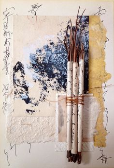 Asemic writing scrolls collaged with painting and papers from Rita McNamara at Salon de Refuse studio.
