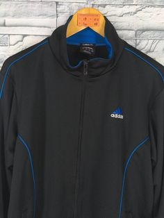 Vintage 90s ADIDAS Track Top Black Jacket Mens Large Sports Adidas  Windbreaker Size L a62517f3d