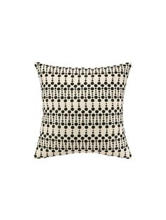 Dottie Delight Embroidered Pillow, Black