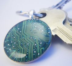 recycled circuitboard jewelry, key chains, and cuff links... LOVE this! And think I can find circuit boards... SO cool!