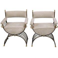 Pair of Polished Steel and Brass Savonarola Chairs