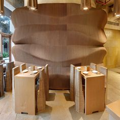 Indian architecture studio Nudes has built an entire cafe in Mumbai using cardboard to prove its versatility as an environmentally friendly material. Mumbai, Indian Architecture, Architecture Design, Futuristic Architecture, Recycling Containers, Bar Design Awards, Bar Interior, Bespoke Furniture, Retro