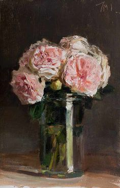 Julian Merrow-Smith (1959- ). Roses in a jar. 2013. Oil on board.