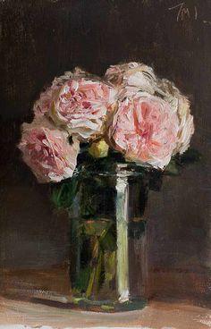 Julian Merrow-Smith (1959- ). Roses in a jar. 2013. Oil on board.