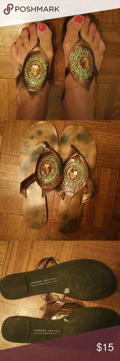 Chinese Laundry sandals Pretty bronze thong sandals with beaded peacock-like adornment.  Very gently used. Chinese Laundry Shoes Sandals