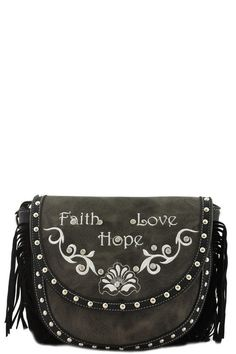 Faith Love Hope Designer Fringe Messenger Bag