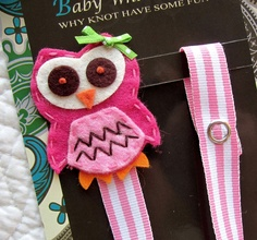 Girl Pacifier Clip, Owl Pacifier Clip, Pink Owl Pacifier Clip. $8.75, via Etsy.