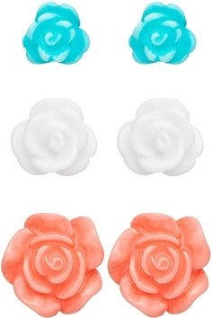 Rose Bud Earring Set $7.99 been looking for these in coral everywhere