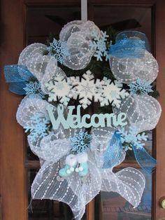 "22"" Welcome Winter Wreath- Christmas Welcome Wreath- Snowflake Wreath- White/Blue Wreath- Christmas Deco Mesh Wreath- Snow Deco mesh Wreath"