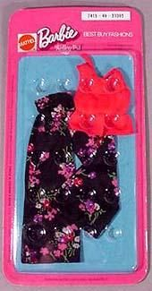 Vintage Barbie Black and Rose Palazzo Pants and Red Top 1975. I had this outfit!