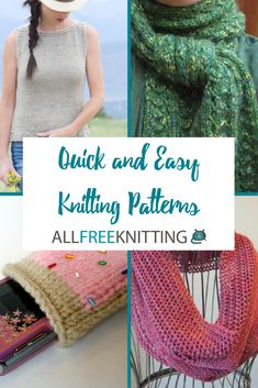 24 Straight Needle Knitting Patterns for Beginners Quick Knitting Projects, Easy Scarf Knitting Patterns, Knit Patterns, Free Knitting, Easy Knit Blanket, Easy Knit Hat, Knit Cowl, Knits, Scrap Busters