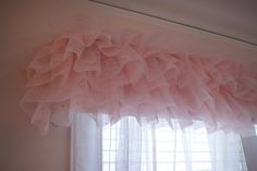 Pink ruffled curtain topper....perfect for a little girl's room....