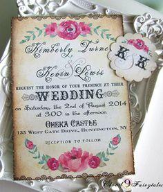 Vintage Wedding Invitation Suite Handmade by Cloud9Fairytales