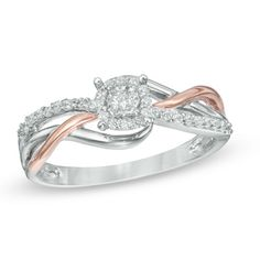 0.18 CT. T.W. Diamond Frame Promise Ring in Sterling Silver and 10K Rose Gold  - Peoples Jewellers