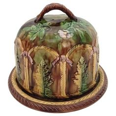 Check out this item at One Kings Lane! English Majolica Cheese Dome