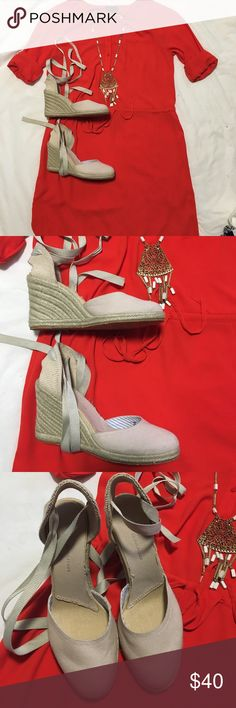 Tommy Hilfiger wedges Tommy Hilfiger tan lace up wedges...perfect for spring and summer Tommy Hilfiger Shoes Wedges