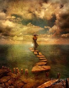 woman-crossing-the-sea-on-stepping-stones-jill-battaglia.jpg (710×900)