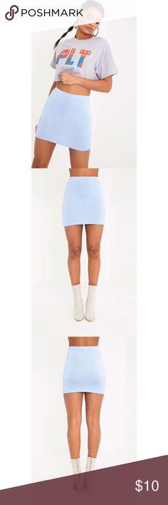 NWT PRETTY LITTLE THING BASIC BABY BLUE MINI SKIRT NWT PRETTY LITTLE THING BASIC BABY BLUE MINI SKIRT Pretty Little Thing Skirts