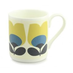 Orla Kiely OK94 Tulip Blue China Mug Brightly coloured design Ideal gift for Him, Her or Teacher/end of term and thank you. Perfect for Birthday Gift. Can be personalised. £9.50 per mug £4 track and trace postage orders over £40 free delivery