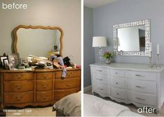 refurbished furniture I love this dresser makeover - will have to keep this in mind! Furniture Projects, Furniture Making, Diy Furniture, Bedroom Furniture Makeover, Repainting Bedroom Furniture, Gray Bedroom Furniture, Furniture Outlet, Discount Furniture, Luxury Furniture